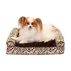 Furhaven Pet Dog Bed – Cooling Gel Memory Foam Plush Kilim Southwest Home Decor Traditional Sofa-Style Living Room Couch Pet Bed with Removable Cover for Dogs and Cats, Desert Brown, Small