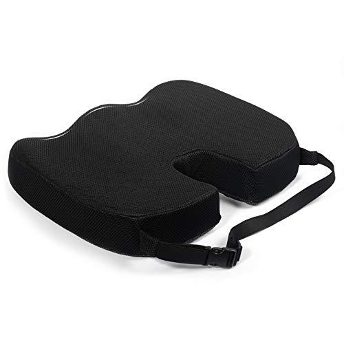 Dioxide Cojín ortopédico [3 grados de dureza] – Cojín ergonómico para silla de oficina & Co, reduce el dolor, aumenta la comodidad del asiento, promueve la circulación sanguínea y alivia el coxis.