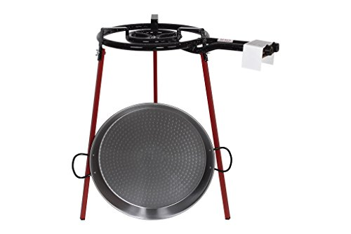 Kit paellera + quemador + patas | Incluye pellera de acero pulido | Medidas de la pallera 46 cm | Medidas del quemador 40 cm