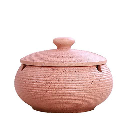 Demarkt Cenicero de cerámica China con una Cubierta para Mesa de té, Mesa de café, pequeña decoración, Puros cenicero con Tapa, Rosa, 11 * 8cm