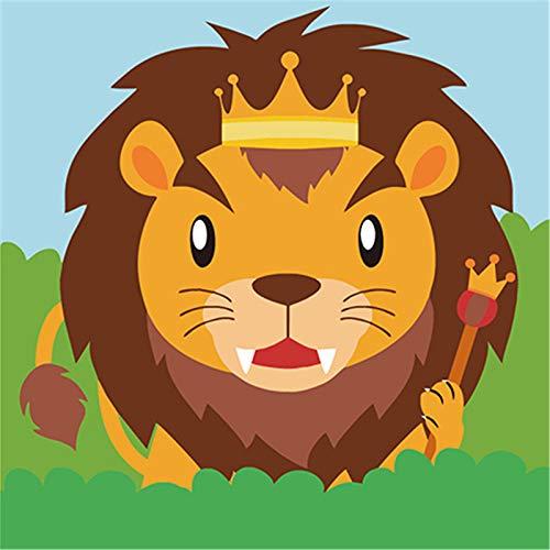 Wowdecor Paint by Numbers Conejo jirafa ganado mono animales para niños de 8 a 12 años adolescentes con marco (león)