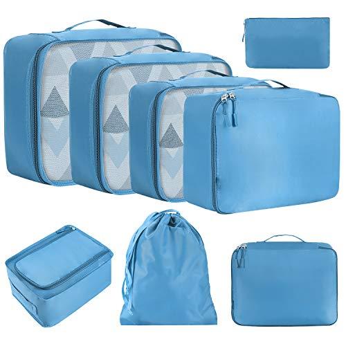 Amazon Brand - Eono 8 Set Cubos de Embalaje, Organizadores para Maletas, Equipaje de Viaje Organizadores, con Bolsa de Zapatos, Bolsa de Cosméticos y Bolsa de Lavandería - Azul
