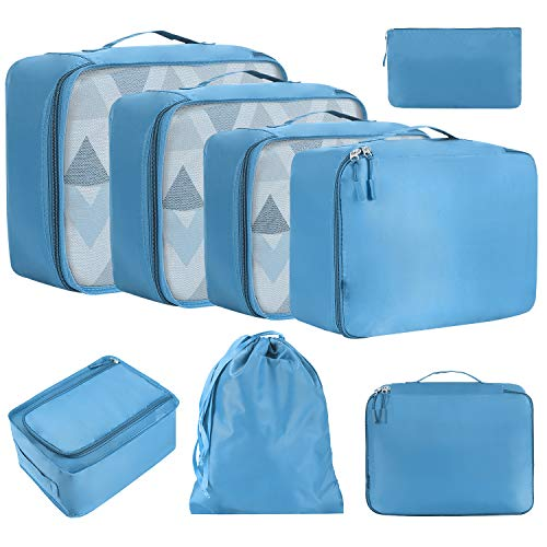 Eono by Amazon - 8 Pcs Packing Cubes for Suitcase Lightweight Luggage Packing Organizers Packing Cubes for Travel Accessories, Blue