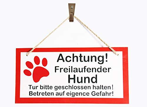 OYEFLY Warnschild Achtung freilaufender Hund, Tor geschlossen Schild Hundeschild Vorsicht Hund Mein Haus, Garten, Familie - Hunde Holzschild Schild,Türschild Haustüre, Achtung Hund (Stil 2)