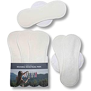 Reusable Menstrual Pads, 7-Pack Bamboo Reusable Sanitary Pads with Wings, Made in EU, for Menstrual Periods, Incontinence, Postpartum Flow; Extra Double Wet Bag with Strap; Washable Menstrual Cloth