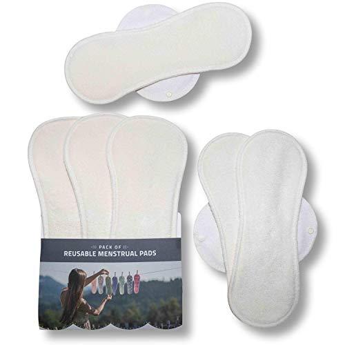 Compresas de tela reutilizables, pack de 6 compresas ecologicas de bambú puro con alas (de tamaños L y XL) HECHAS EN LA UE para menstruación, postparto, incontinencia; compresas lavables para mujer