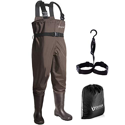 OXYVAN Waders Waterproof Lightweight Fishing Waders with Boots Bootfoot Hunting Chest Waders for Men Women (M11/W13, Brown)