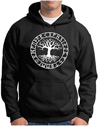 OM3® Yggdrasil-Tree-of-Life Hoodie | Herren | Vikings Wikinger Symbol Nordic Warrior | Kapuzen-Pullover Schwarz, XXL