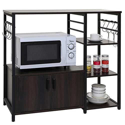 """Iwell 35.4"""" L Kitchen Baker's Rack with 1 Cabinet and 8 Hooks, Microwave Oven Stand, 4 Tier Kitchen Storage Cart, Utility Storage Cabinet with Metal Frame, Coffee Bar, Dark Oak"""