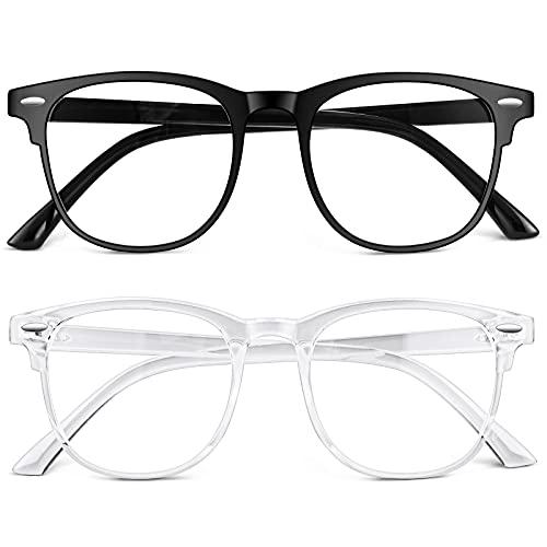 URAQT Blaulichtfilter Brille, 2er-Set Rund Anti Blaulicht PC Gaming Brillen Modebrille, Blue Light Blocking Glasses, Ohne Stärke Blaufilter Brille für Damen und Herren