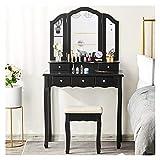 WSZMD Taburete Maquillaje Vanidad para Niñas Mujeres Vanity Set con Banco Amortiguado 5 Cajones Almacenamiento Y Espejo Plegable Negro, Tocador