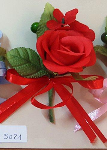 Set 12 pièces, Bonbonnière Fleur Bouquets Fleur cm 10 x 4 (ck5021-red12) (Rouge)