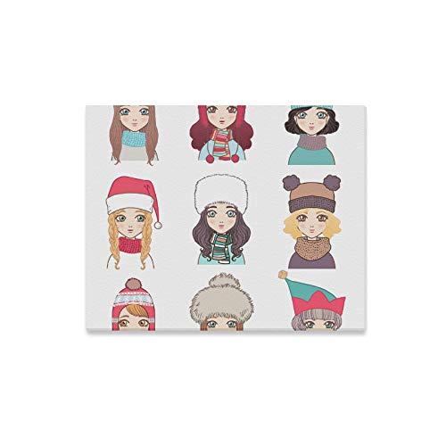 XiexHOME Esszimmer Wandkunst Schal Mädchen warme hübsche Frauen dekorative Wandfarbe Vintage Wandkunst Dekor drucken Dekor für zu Hause 20x16 Zoll