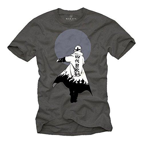 Regalos Nerd - Camiseta Manga Corta - Naru Ninja Anime T-Shirt Gris XL