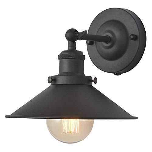 TANGSHI Vintage Apliques de Pared Retro Metal Industrial Bañadores de pared Lámpara de Pared Ajustable Lámpara de luminaria, Casquillo E27, Color Negro