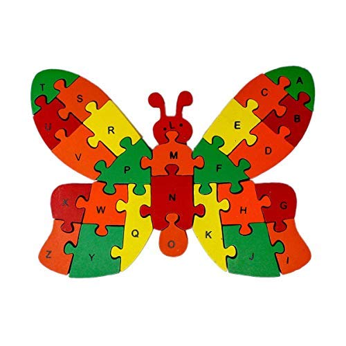 Party Hub Alphabet and Number Wooden Jigsaw Puzzle Learning Educational Toys - Butterfly
