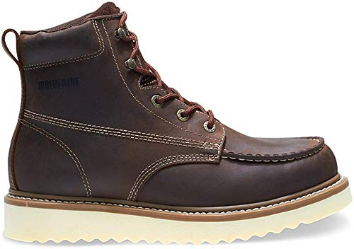 Wolverine - Zapatos de Seguridad con Cordones para Hombre (Piel, Punta de Acero), Color Marrón, Talla 42 EU