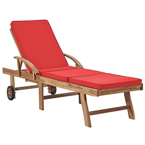 vidaXL Teak Massiv Sonnenliege mit Auflage Verstellbar Gartenliege Holzliege Liege Relaxliege Liegestuhl Strandliege Gartenmöbel Rot