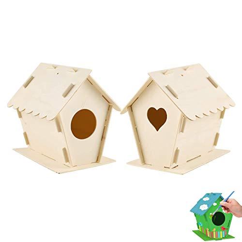 2 Pezzi Casette Uccelli in Legno Fai da Te Kit Casette per Uccelli Legno Modelli da Realizzare Costruire Case Uccelli in Legno Non Finito da Appendere con Spago Casette per Uccelli da Decorare