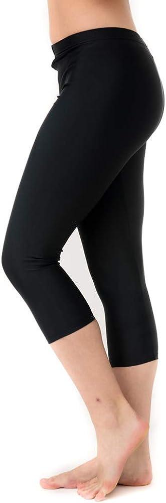 Undercover Waterwear Women's High Waisted Swim Leggings- Athletic Capri Pants- UPF 50+ Cover Up Swim Tights