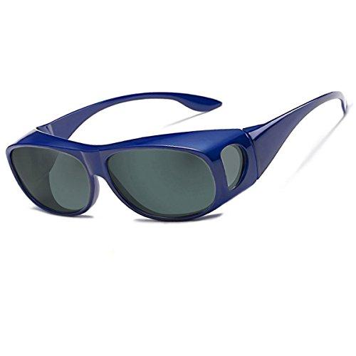 LEDING&BEST Sonnenbrille Überziehbrille für Brillenträger Brille Herren Damen {Polarisiert Sonnenüberbrille über Normale Brillen},UV400 Sunglasses Fit Ove Rx Glasses (blue)
