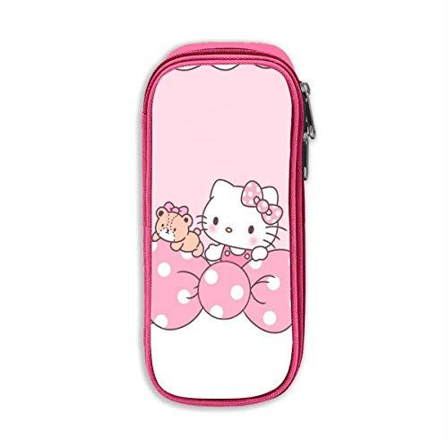 Estuche para lápices, rosa de alta capacidad con estampado Hello-Ki-tty, estuche para bolígrafos, bolsa para cosméticos, bolsa-LR