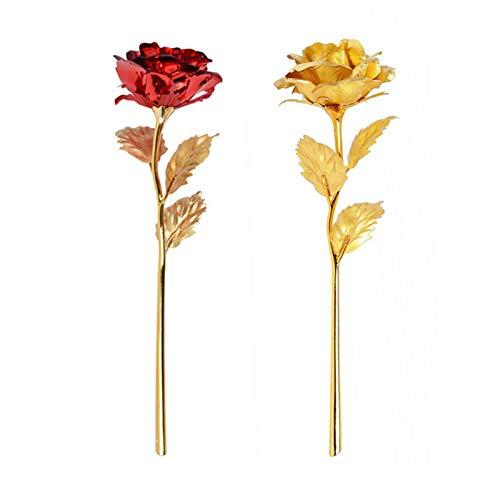 Rosa 24 K Chapado Oro Rosa Flor Flor Rosa Chapada En Oro...