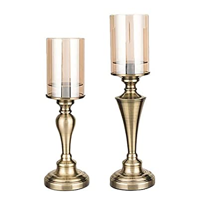Hurricane Candle Holders for Pillar Candles, Pillar Candle Holders Set of 2, Table Centerpieces, Dining Table Decor, Ideal for 3'' Pillar Candles and LED Candles, Metal Base With Hurricane Glass Cover from POSHER DECOR