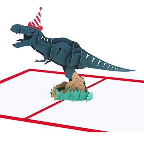 MUROAD Tarjeta de Felicitación para Cumpleaños - 3D Pop up Tarjetas de cumpleaños para niños, Dinosaurio