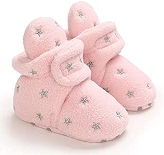 Mix&Max fleece shoes embroidered stars-12/18Month-Pink