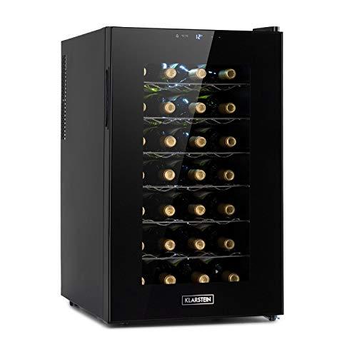 Klarstein Barolo 28 Uno Weinkühlschrank, 70 Liter / 28 Flaschen, Temperatur: 11-18 °C, Geräuscharm: 26 dB, 6 Metallregalebenen, LED-Beleuchtung, UV-Schutz, Weinkühler, Freistehend, Schwarz