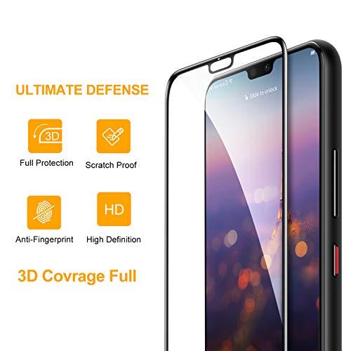 SmartDevil Huawei P20 Panzerglas Schutzfolie [2-Stück] [mit Installation Werkzeug] [Full Glue Coverage] 9H Härte,Blasen und HD Anti-Öl,Panzerglas Schutzfolie für Huawei P20 (Schwarz) - 2