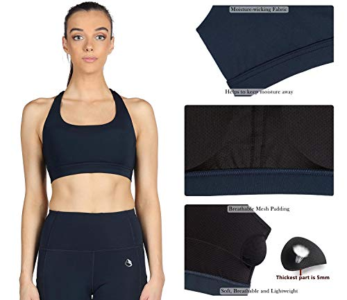 icyzone Padded Strappy Sports Bra Yoga Tops Activewear Workout Clothes for Women (S, Blueberry)