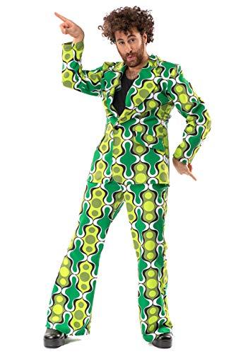 Original Replicas Greeting Green Sixties Seventies Hippie Disco Soul Dance Kostüm für den Mann mit Jacke und Hose S - XS bis 3XL