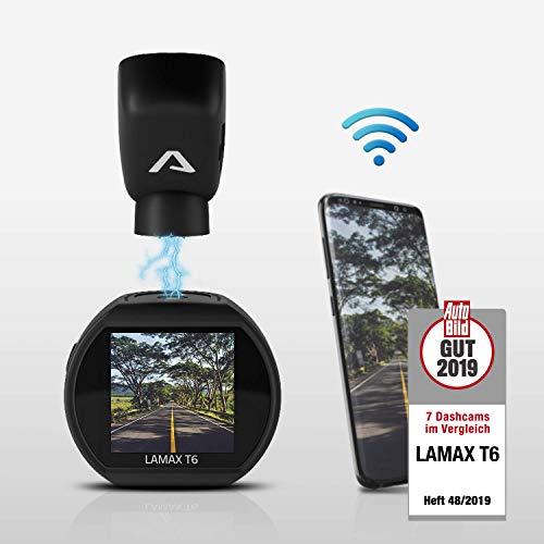 LAMAX T6 GPS Mini Dashcam Auto Kamera - Videoregistrator Für Auto - Kompakte Autokamera Dash Cam Full HD mit GPS, Nachtsicht, Wifi, WDR, G-Sensor und Parkmodus