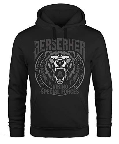 Neverless® Hoodie Herren Berserker Bär Viking Runen nordische Mythologie Print Aufdruck Männer Fashion Streetstyle schwarz 5XL