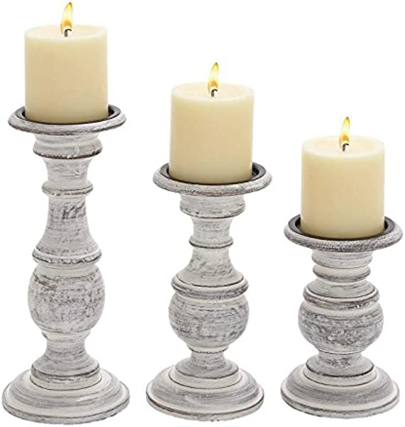 Deco 79 Distressed White Wood Candle Holders With Spiked Candle Plates Traditional Style Table Decor White Candlesticks Accent Decor Set Of 3 4 6 8