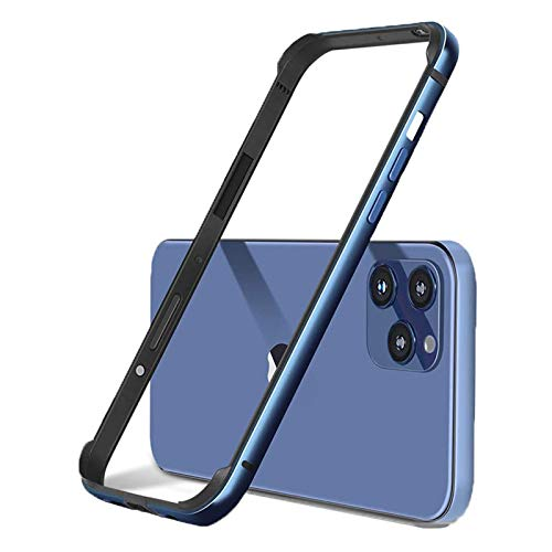 Aluminum Frame Metal Bumper Frame Slim Hard Case Cover for iPhone 12 Pro Max Bumper Case Cover Blue for 6.7 inch, Metal Frame Armor with Soft Inner Bumper, Raised Edge Protection