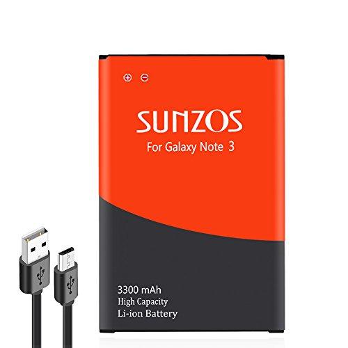 SUNZOS, Ersatzakku für Samsung Galaxy Note 3, Note 3 III, N9000, N9005 LTE, (AT&T) N900A, (Verizon) N900V, (Sprint) N900P, (T-Mobile) N900, 3300 mAh