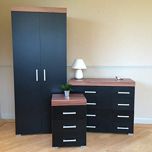MMPTN Walnuss Schlafzimmermöbel Set Kleiderschrank 4 4 Schubladen Und 3 Zeichnen Nachttisch,Black