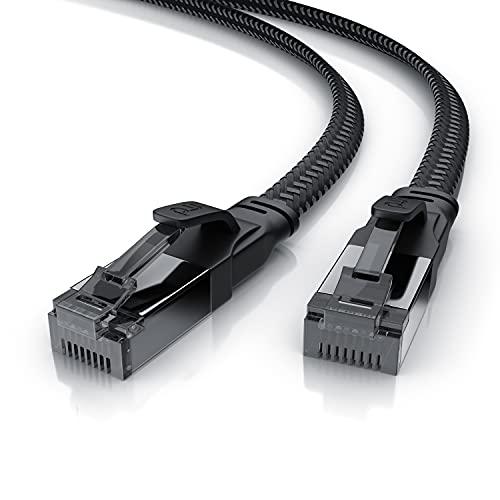 CSL - 2m CAT.8 Netzwerkkabel Flach 40 Gbits - Baumwollmantel - LAN Kabel Patchkabel - CAT 8 Gigabit RJ45 Ethernet Cable - 40000 Mbits Geschwindigkeit - Flachbandkabel - Verlegekabel - Cat 6 Cat 7