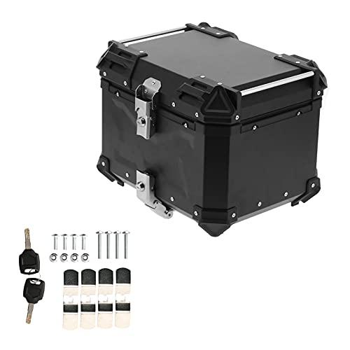 Caja superior de motocicleta Universal Negro 45L Motocicleta Aventura Caja superior de aluminio Caja trasera Equipaje apto para Honda