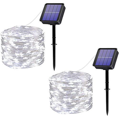 HJCC 2 Piezas Guirnaldas Luces Exterior Solar,Luces Solares Cadena 100 Leds 12M Leds Impermeable con 8 Modos Iluminación Decoracion para Navidad, Fiestas, Bodas, Jardines,Cool White