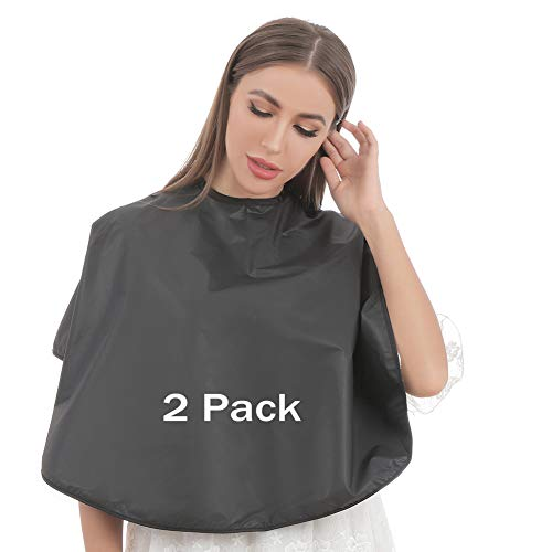 Bqueen Makeup Cape Professional Short Hair Cape Makeover Bib for Beauty Salon Smock for Clients, Lightweight Comb-out Beard Shaving Apron Hairdressing Shampoo Cape (2 Pack)