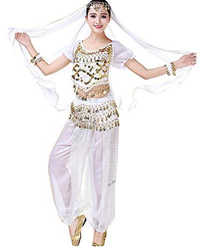 Mujer 5 Piezas Ropa de la Gasa Indio Traje de Danza del Vientre Vestido de Baile Trajes de Disfraces de Cosplay Blanco 5PCS