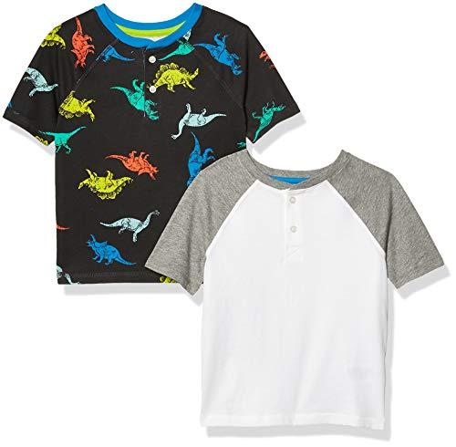 Amazon Essentials Short-Sleeve Henley T-Shirts Camicia, Confezione da 2 Dinosauro Nero, 3 Anni