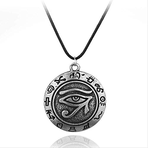 CAISHENY Collar Cool Egypt Eye of Charm Colgante, Collar de aleación, Cuerda Gris, joyería Espiritual, Regalo para Mujeres, Hombres, Mujeres, Hombres, Regalos