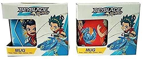 Beyblade Burst Let it RIP Tazas de desayuno, Set de 2 tazas de azul y rojo con estampado Valt Aoi y Rantaro Kiyama, apto para lavavajillas, 200 ml