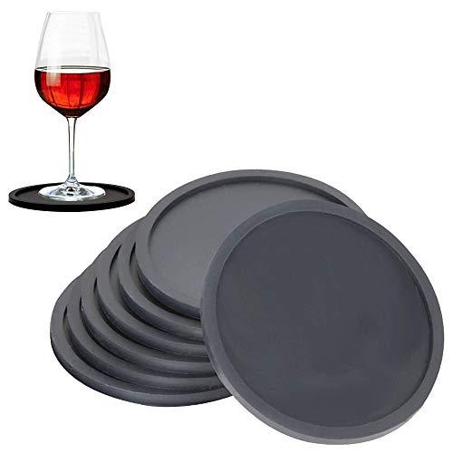 MEIXI Untersetzer Gläser 8er-Set,rutschfeste Schwarze Runde Silikon Untersetzer,Hitzebeständiger Untersetzer für Bar, Wohnzimmer und Küche,Schutz Aller Tischoberflächen