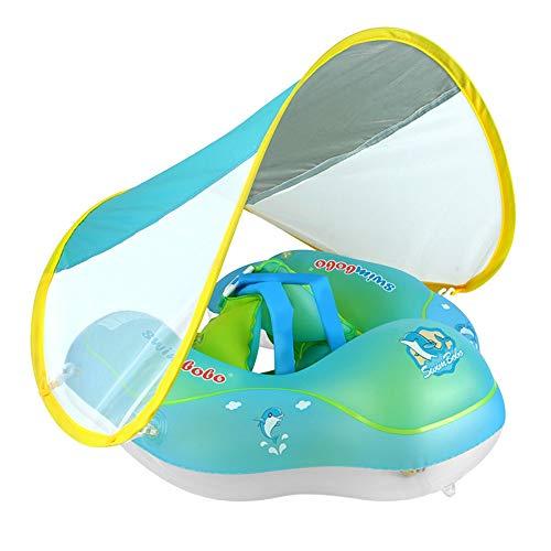 Bnrsyku Flotador inflable para bebé con soporte inferior seguro y toldo retráctil para nadar más seguro, azul, small